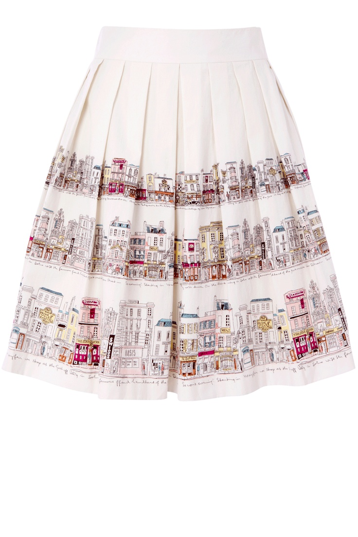 As seen in Now magazine, this Oasis box pleated skirt has a street scene pattern to the hem.