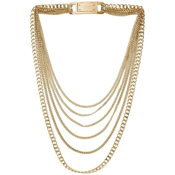 Pre-owned Michael Kors MK Multi-Strand Chain Link Chunky Gold Necklace... ($124) ❤ liked on Polyvore featuring jewelry, necklaces, accessories, gold, chunky necklaces, layered chain necklace, chunky gold necklace, chain link necklace and gold chain link necklace