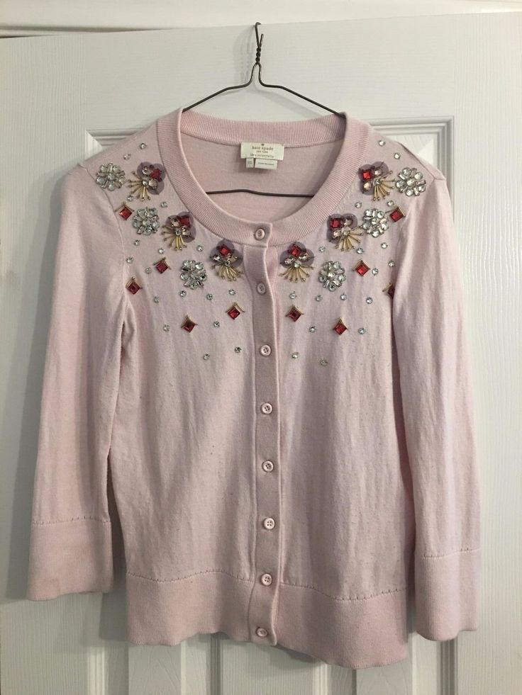This is an extremely beautiful authentic Kate Spade New York Kati Cardigan embellished with geometric gemstones in size XS. Light pink cardigan has silver and light pink circular stones, light pink rectangular stones, red square stones and gold linear beads in amazing geometric patterns. | eBay!