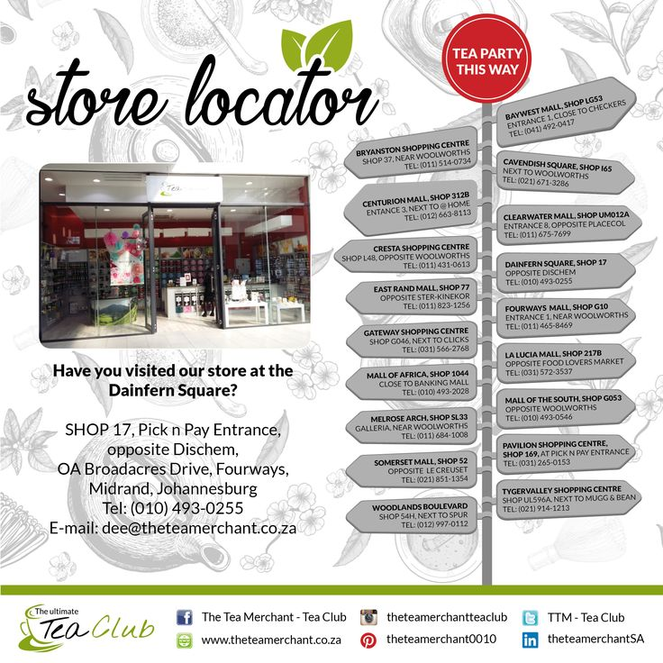 Did you know we have stores country wide? Please see which store is nearest to you for the ultimate tea experience #theteamerchant #dainfernsquare #shop17