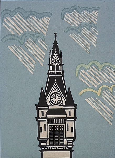 Artist: Willie Rodger  Title: Tower of Town House, Aberdeen (The Union Street Folio, published by Peacock Printmakers, Aberdeen)  Year: 1990  Medium: linocut & line block with screenprint  Source: RSA