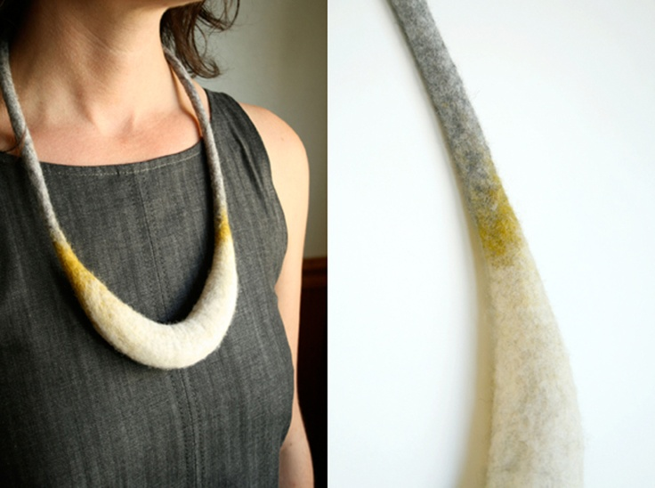 Crescent necklace. Hand felted merino wool.