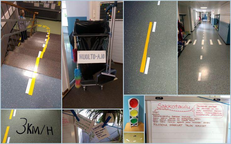 Liikenneturvallisuusviikko - koulun sisäinen liikenne, osa 1. Mainosteipein lattiaan...