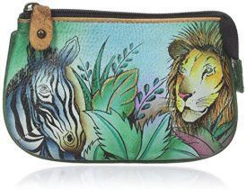 New Anuschka, Hand Painted Leather Coin Purse w/ 2 Key Fogs - African Adventure    Trendy, Cute and Luxurious Hand Painted Leather Purses      Hand painted leather purses are truly eye-catching, unique and cool.  In fact they are currently trending like crazy!  Obviously when you combine beautiful hand painted art, on fine quality leather the result is a timeless and charming creation just for you.