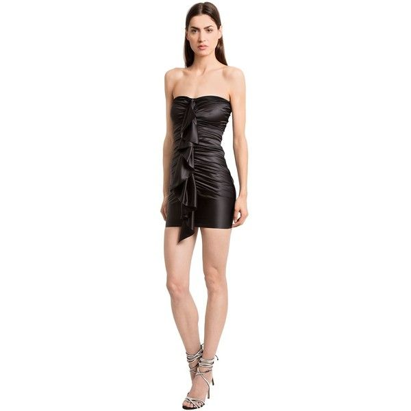 Alexandre Vauthier Women Ruffled Strapless Stretch Satin Dress ($2,860) ❤ liked on Polyvore featuring dresses, black, strapless dress, ruched cocktail dress, lining dress, flutter-sleeve dresses and ruched dress