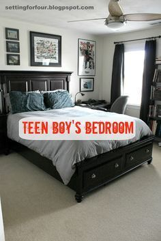Teen Boy's Bedroom Decor Tips including wall art ideas, storage ideas, bedding and furniture ideas! Mom and Teen approved! www.settingforfour.com