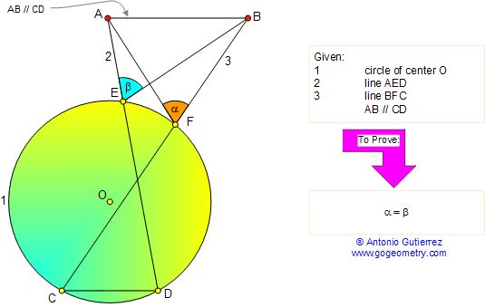 Math Geometry Problem 77. Angles in a circle, Cyclic Quadrilateral, Parallel lines. Secant, Chord. Level: High School, College, Mathematics Education