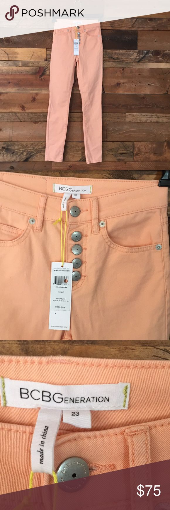New BCBG peach colored Skinny Jeans Brand new with tags! Pretty peach color- great for spring and summer!!! Button front mid waist skinny jeans from BCBG store. Bought for my daughter and they didn't fit. Size 23 BCBG Jeans Skinny