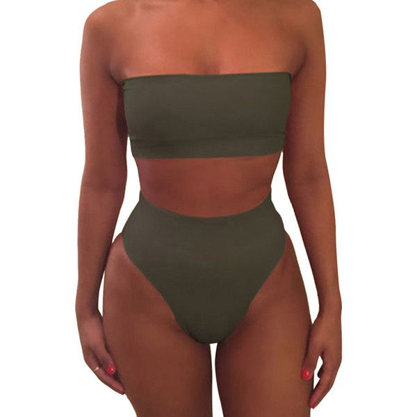 Womens Sexy Plain Bandeau Top&High Waist Bottom Bikini Set Army Green ($11) ❤ liked on Polyvore featuring swimwear, bikinis, high rise bikini, high waisted two piece, army green bikini, olive bikini and bandeau top bikini