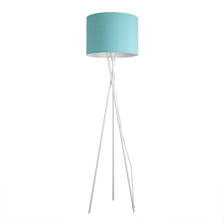 Camden Tripod Floor Lamp in Gloss White with Duck Egg Blue Rolla Shade