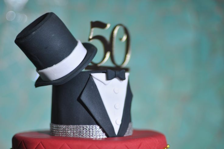 Tuxedo 50th Birthday Cake Idea Complete With Top Hat For A