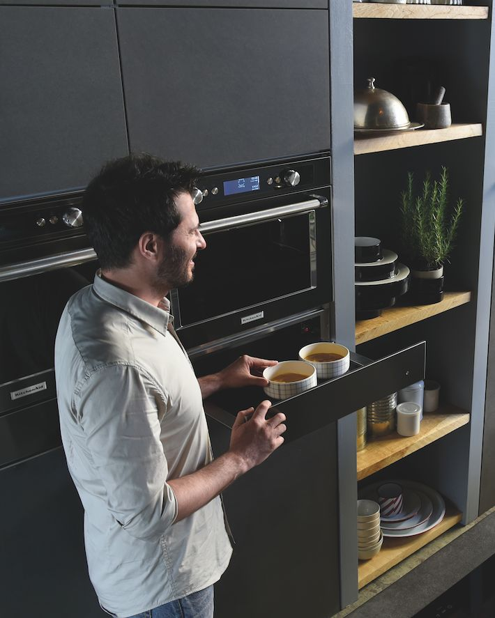 KitchenAid combi stoomoven black steel