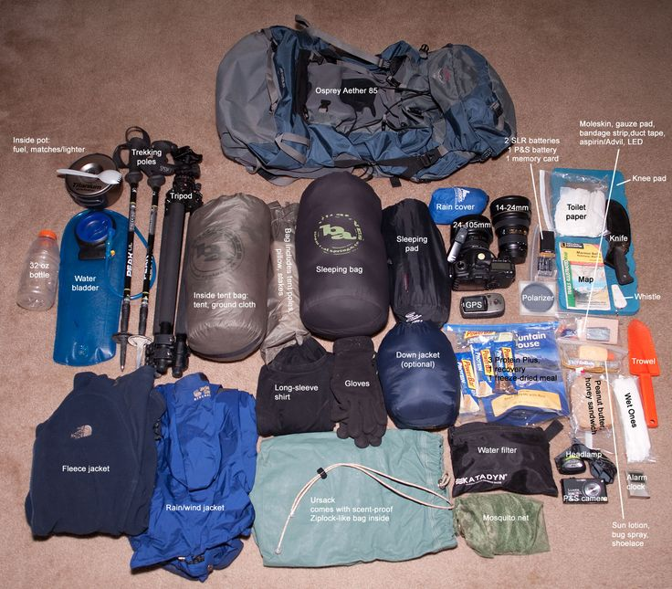 plus a flashlight, flare, bear spray, aerosol cannister and first aid kit, ice axe, minus the hiking sticks and tripod.