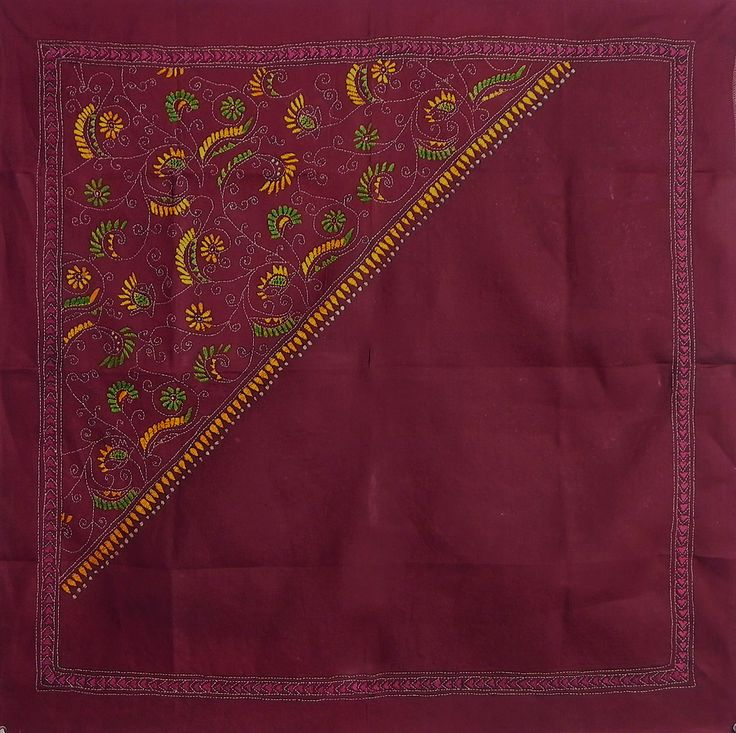 Maroon Head Scarf with Kantha Stitch (Cotton Cloth)