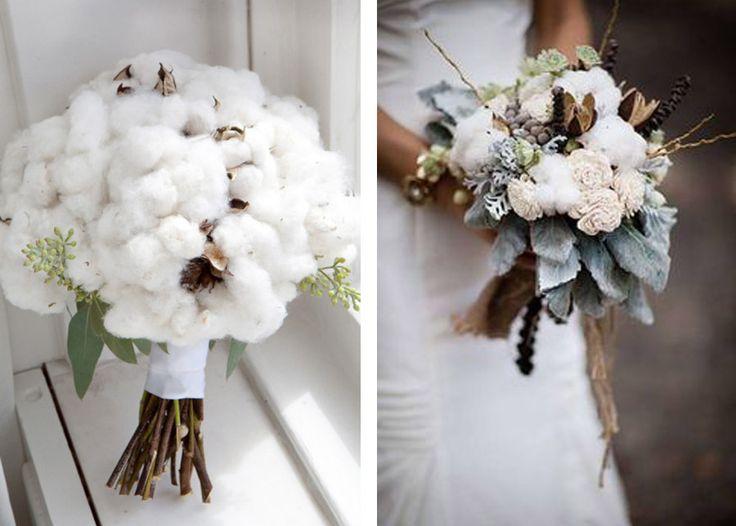 Si te casas en invierno, elige un ramo de flor de algodón...  http://www.unabodaoriginal.es/blog/de-la-cabeza-a-los-pies/ramos-de-novia/ramos-de-novia