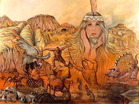 Armand Vallee was a very prolific artist and traveled extensively across the western US. He produced a series of paintings telling the story of native americans. This painting has some background images taken from another of his masterpieces... The Resting Place of the Warriors... another oil in my collection. I am a huge fan of Armand Vallee.
