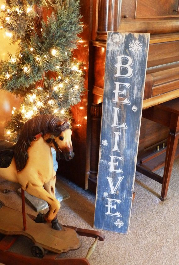 Navy Blue Distressed Christmas 'Believe' Sign with Snowflakes, wood handpainted signs, christmas decorations