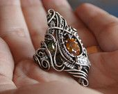 Honey of Tree - honey-yellow sphene statement ring size 7 1/4 fine silver intricate wire wrapped OOAK