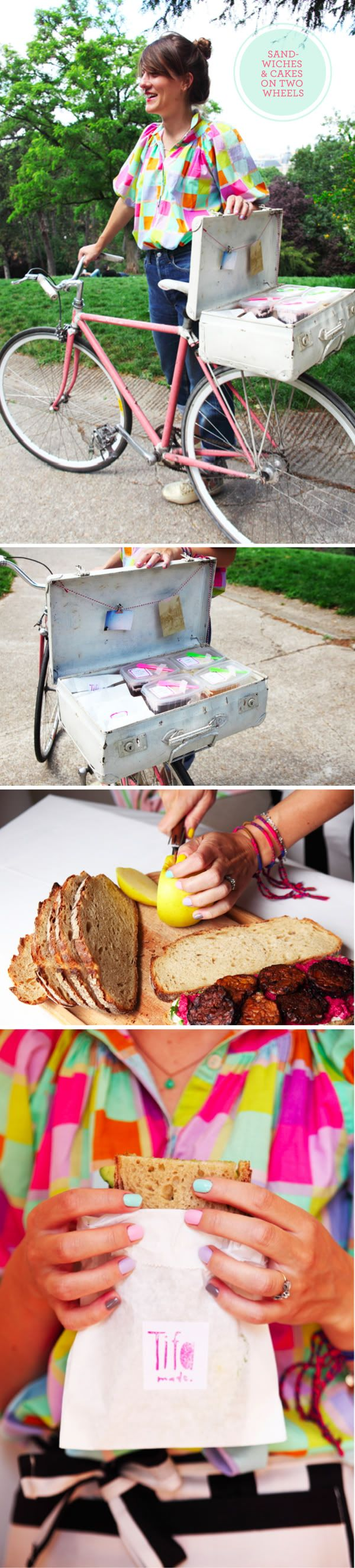 How cute is this?? ...and colorful!??    Tiffany and her pink bike deliver sandwiches and cakes to the hungry people of Paris.  Upon arrival, the sandwiches and cakes are presented in a lovely old suitcase!!