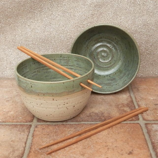 Pair of noodle bowls.... hand thrown in stoneware pottery