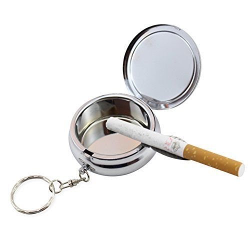 Portable Ashtray Newness Stainless Steel Modern Portable Ashtray Cigarette Ashtray for Outdoor Use Ash Holder for Smokers Pocket Smoking Ash Tray with Lid Key Chain and Cigarette Snuffer *** Click on the image for additional details.