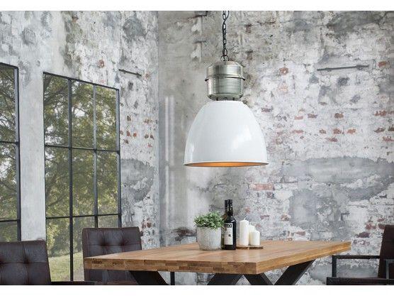 Suspension industrielle en métal blanc/argent Jewel 102 cm