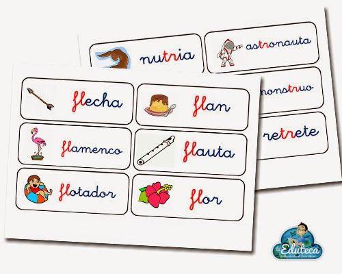 La Eduteca: RECURSOS PRIMARIA | Tarjetas de vocabulario trabadas FL, FR, TR Y TL.