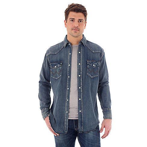 Wrangler® Cowboy Cut® Long Sleeve Western Snap Indigo Slub Denim Shirt - Antique Blue