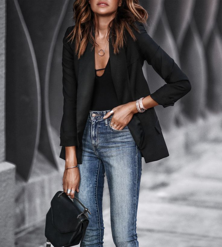 black blazer, bodysuit, levi's jeans