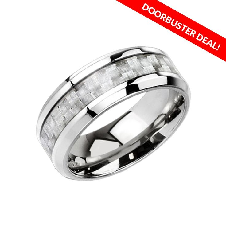 Silver To The Core - Titanium Ring With Silver Carbon Fiber Inlay