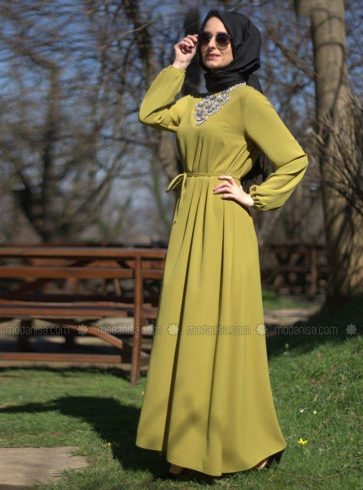 Belted Dress - Green - Melek Aydin