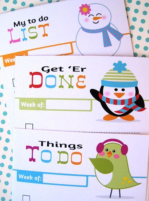 To-Do list printableCrafts Ideas, Winter Friends, Organizational Printables, Printables Note Free, Kids Printables, Fun Crafts, Organic Printables, Free Organic, Free Printables