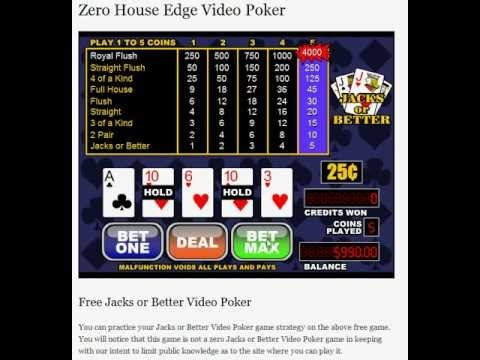 Video Poker Strategy - Zero Video Poker