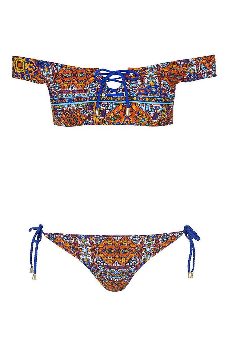 Tile Print Bardot Bikini Top and Bottoms