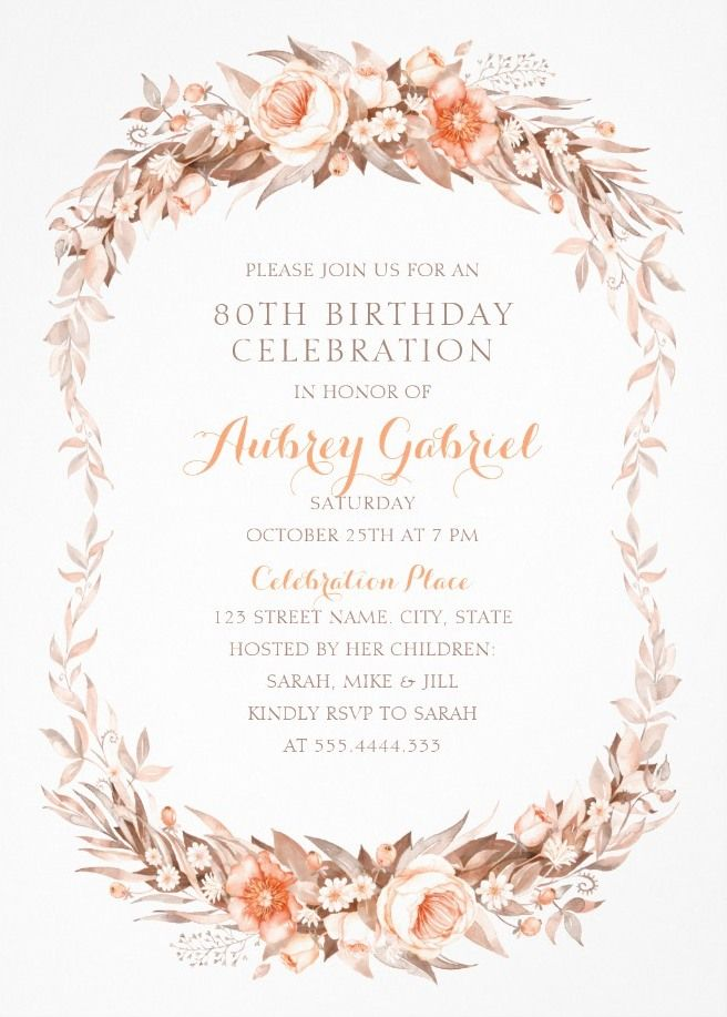 Floral Adult 80th Birthday Invitations Elegant Fall Flowers Invitation Templates Unique And Creative Party