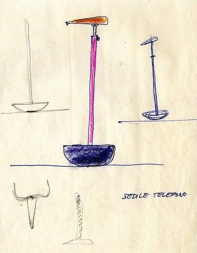"""SELLA    Sedile    1957 Progetto: Achille e Pier Giacomo Castiglioni    (1957), 1983 Produzione: Zanotta    """"Sgabello per telefono"""" realizzato con elementi industriali, si traduce in una seduta """"sempre in piedi""""."""
