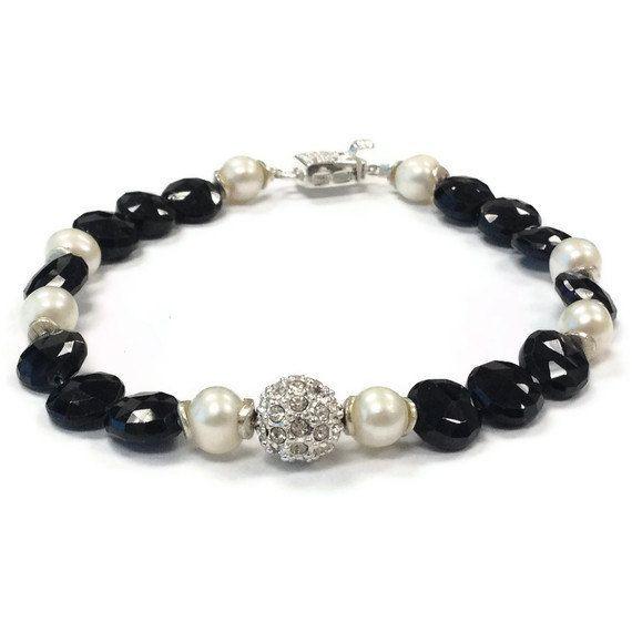 Black Bracelet Sterling Silver Jewelry Pearl by jewelrybycarmal, $62.00