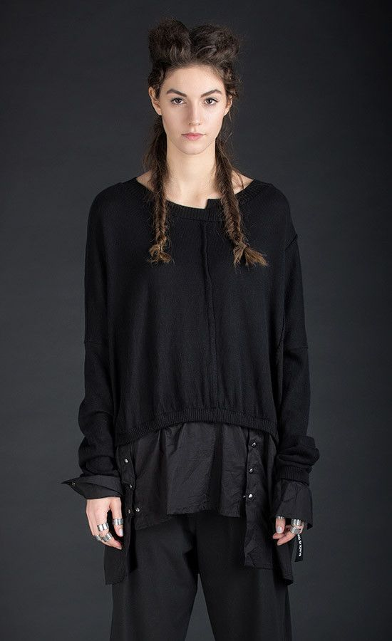 TIRENO - Knit black top feat. blouse bottom and cuffs  | Studio B3 |