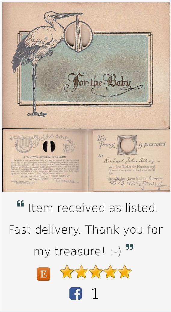State Savings Loan & Trust Bank Quincy IL Baby Savings Account circa 1916 #vintage