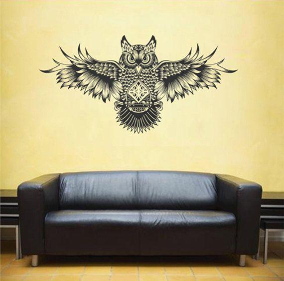 kik1835 Wall Decal Sticker owl predator bird bones bedroom living room