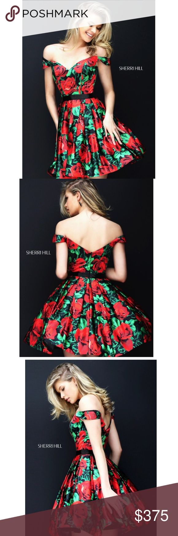 sherri hill floral prom homecoming formal dress PRICE REFLECTS POSH FEES. MAKE AN OFFER. brand new sherri hill off the shoulder short floral print dress. has a beaded waist. multiple layers of tulle underneath. worn once for an hour. no damages or alterations at all. tag says size 4, also could fit a size 2 or 0. super cute dress in perfect condition. so much fun to dance & twirl in! i got so many compliments on this dress! definitely a showstopper. it will be hard to let this go, but i will…