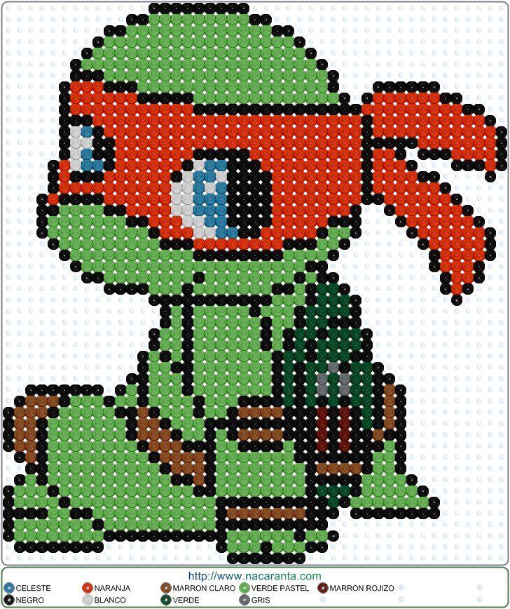 Michelangelo PATRONES HAMA BEADS Tortugas Ninja