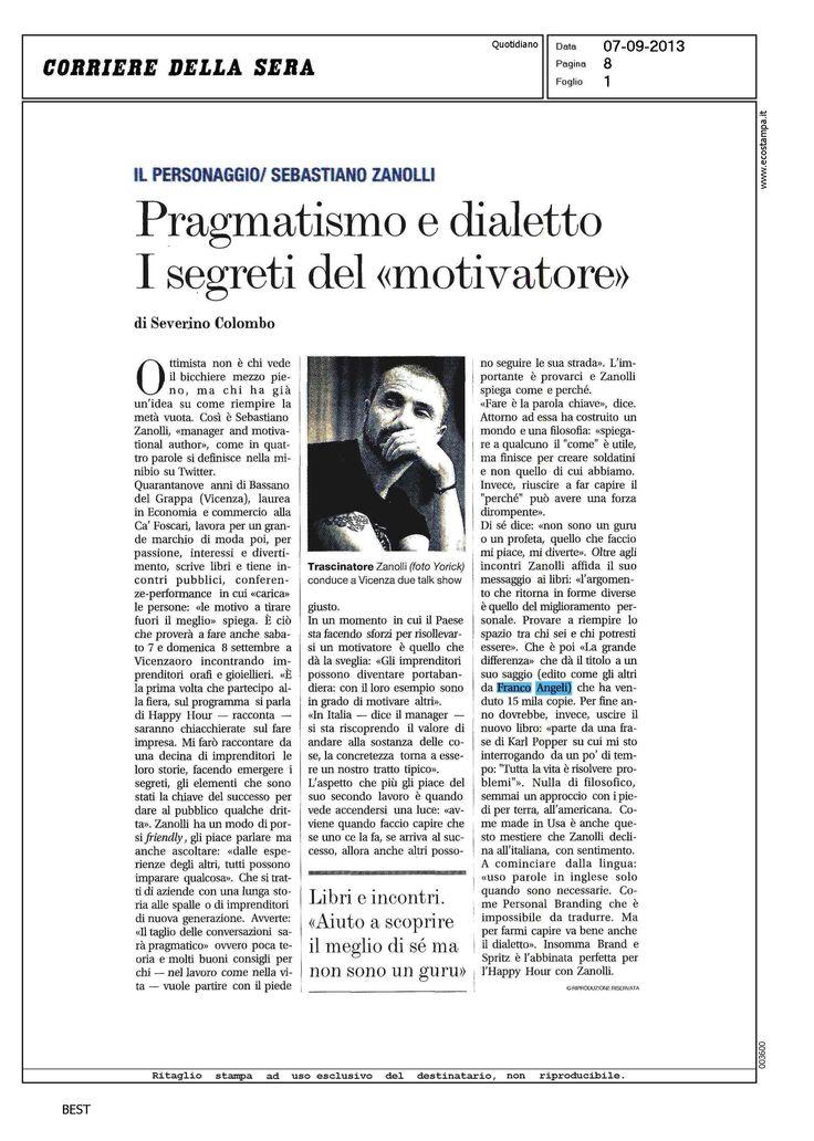 """Il """"Corriere della Sera"""" su Sebastiano Zanolli"""