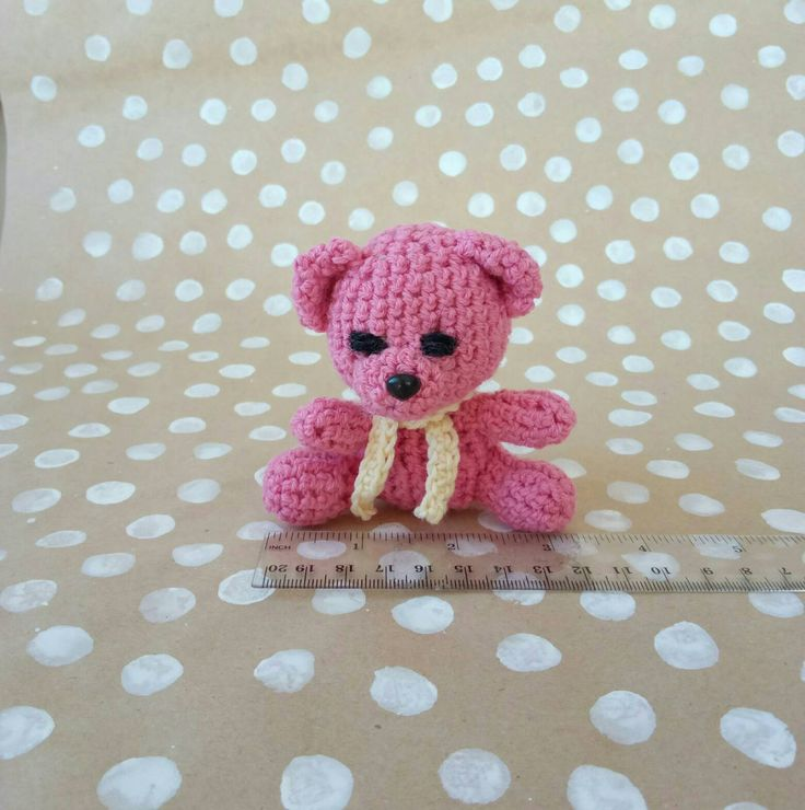 Pink teddy amigurumi, rose baby bear, small knitted toy, baby safe toy, natural material,  hypoallergic cotton toy,  gift small child, kids by CuteGiftStudio on Etsy