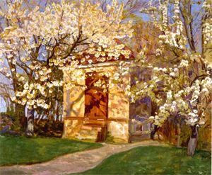 Alhed Larsen: Havehuset med blomstrende kirsebær