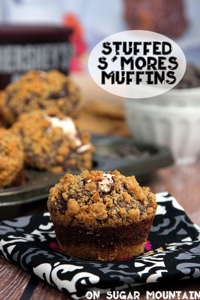 #MuffinMonday - Stuffed S'mores Muffins - On Sugar Mountain : On Sugar Mountain