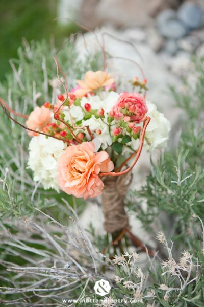 Rustic Bridesmaid Bouquet - Ranunculus, Calla Lily, Hypericum Berries, Hydrangea, stems wrapped with burlap.