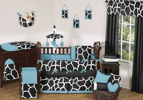 Purple Giraffe Print Crib Bedding