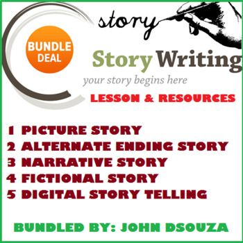 This Bundle Includes: 1. ALTERNATE ENDING STORY 2. DIGITAL STORYTELLING 3. FICTIONAL STORY WRITING 4. NARRATIVE STORY WRITING 5. PICTURE STORY WRITING  MORE PRODUCTS BY THE AUTHOR: * PREPOSITIONS * PHRASES * CLAUSES * ADJECTIVES * CONNECTIVES * LETTER WRITING * PROSE COMPREHENSION * HEALTH TIPS * SPECIAL NEEDS APPS * DIGITAL TEACHER * POEM COMPREHENSION * ANALYZING GUIDES * WRITING RESOURCES * LISTENING & SPEAKING SKILLS * PUNCTUATION * TENSES * SENTENCES * HOMOPHONES-HOMOGRAPHS-HOMONYMS...