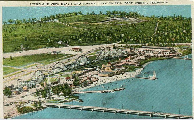 Vintage Casino Beach Post card - Lake Worth, Fort Worth, Texas